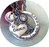 Cousin Forever in My Heart Charm Necklace w-Swarovski Birthstone Crystal and Letter Charm