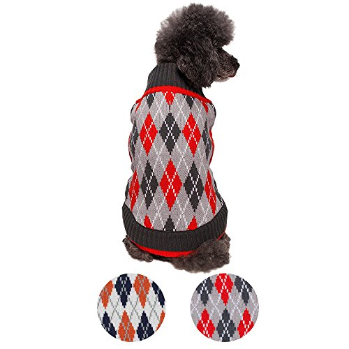 Blueberry Pet 2 Patterns Chic Argyle All Over Dog Sweater in Charcoal and Scarlet Red, Back Length 10