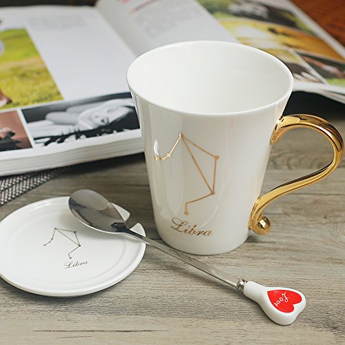Koolip Coffee Cups - 10 OZ Ceramic Tea Cup Constellation Coffee Mug (Libra)