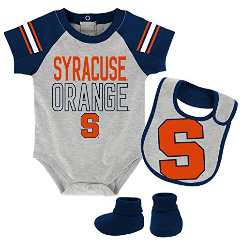 NCAA Syracuse Orange Newborn & Infant Blitz Bodysuit, Bib & Booties, Heather Grey, 12 Months by NCAA by Outerstuff