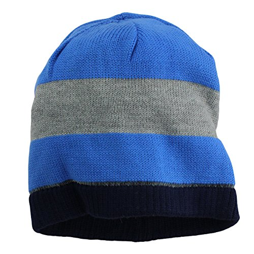 8831a91cdfb Nolan Boys Striped Beanie Hat Reversible Winter Hat Royal Blue Grey Size  4-14 by