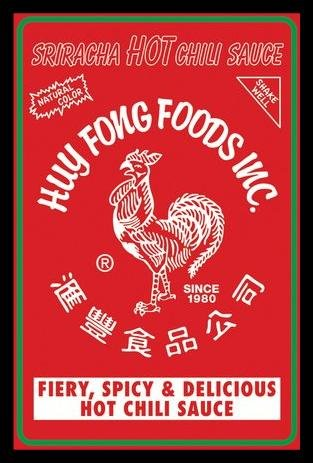 FRAMED Sriracha HOT Chili Sauce Label 36x24 Art Pint Poster Huy Fong Foods Fiery, Spicy & Delicious Hot Chili Sauce