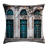 Lunarable Street Throw Pillow Cushion Cover, Historic Apartment Wall View with Tall Window Openings Classic Style Ornamentations, Decorative Square Accent Pillow Case, 36 X 36 inches, Multicolor