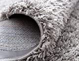 Unique Loom Solo Solid Shag Collection Modern Plush Cloud Gray Runner Rug