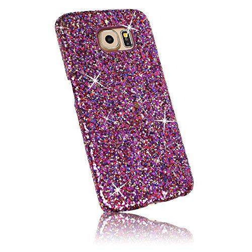 Xtra-Funky Serie Samsung Galaxy S6 Edge brillantes caso del brillo Arco Iris chispeante de lentejuelas del brillo - Rosa Arco Iris Rosa