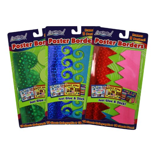 ArtSkills Mini Quick Poster Borders, Arts and Crafts Supplies, Border Trim, Neon, Holographic, Partially Adhesive, Frames 2 Posters, Assorted, 2 Pack