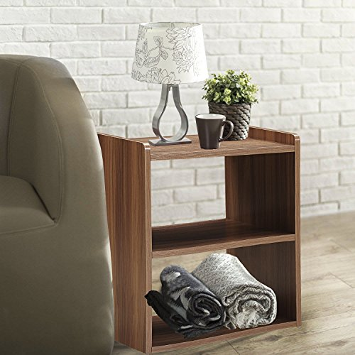 GreenForest Bedside Table 3-Tier Wood Organizer Storage Shelf for Bedroom Nightstand End Side Coffee Table, Walnut by GreenForest (Image #7)