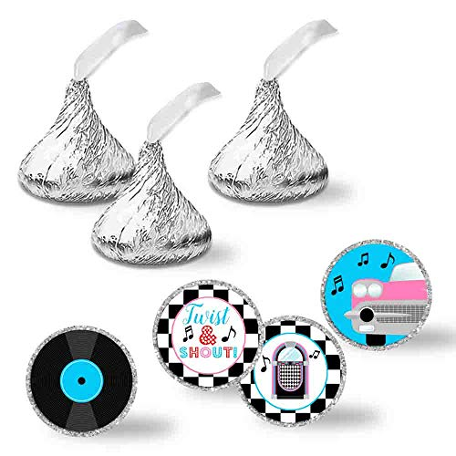 """50's Sock Hop Birthday Party Kiss Sticker Labels, 240 Party Circle Sticker sized 0.75"""" for Chocolate Drop Kisses by AmandaCreation, Great for Party Favors, Envelope Seals & Goodie Bags ()"""