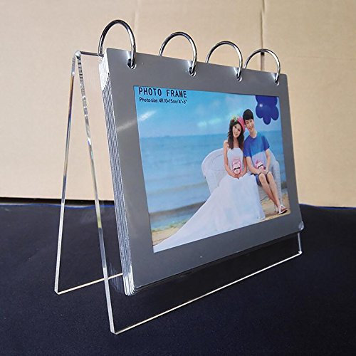 leoyoubei Clear Acrylic Sided Frames Desktop Display Holder with Vertical Stand and 4mm Thicker Menu Holders,PVC Photo Clip 7 Shows 14 Photos Photography Studio/Album - Acrylic Album