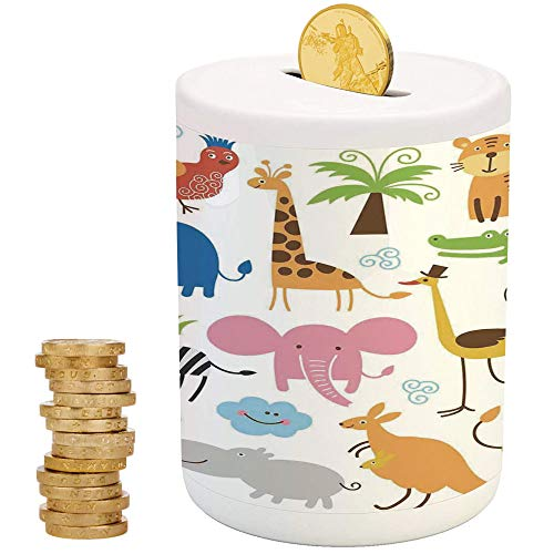 Set Coin Zebra - Animal,Ceramic Girl Bank,Printed Ceramic Coin Bank Money Box for Cash Saving,Cute Set of Giraffe Elephant Zebra Turtle Kids Nursery Baby Themed Cartoon Comic Print