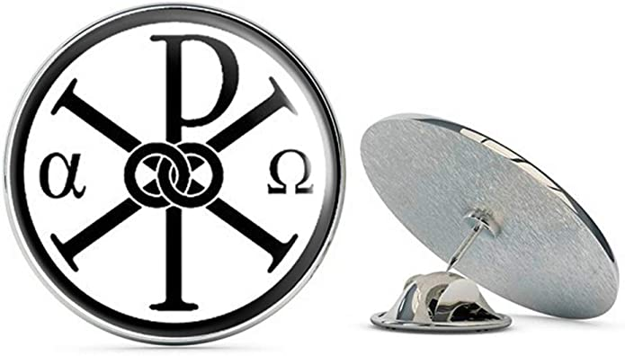 Silver Toned Etched Oval Greek Letter Rho Tie Tack