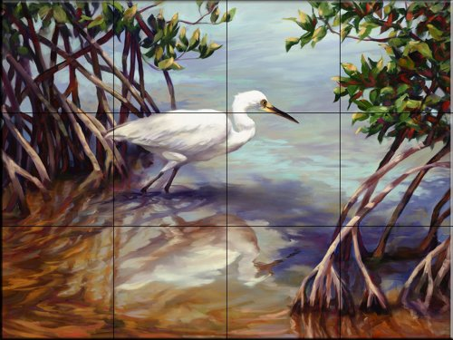 Heron Walking on Water by Laurie Snow Hein - Kitchen Backsplash / Bathroom wall Tile Mural