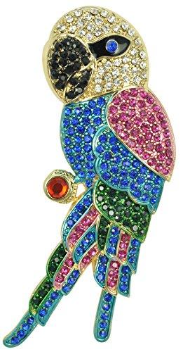 Crystal Parrot Pin (Gyn&Joy Womens Golden Tone Tropical Rainbow Colorful Rhinestones Parrot Bird Brooch Pin BZ020)