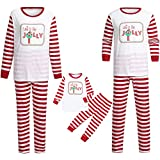 GzxtLTX Family Christmas Matching Pajama Set Letter Printed Let's Be Jolly Stripe Sleepwear Nightwear (8T, White-Kids)