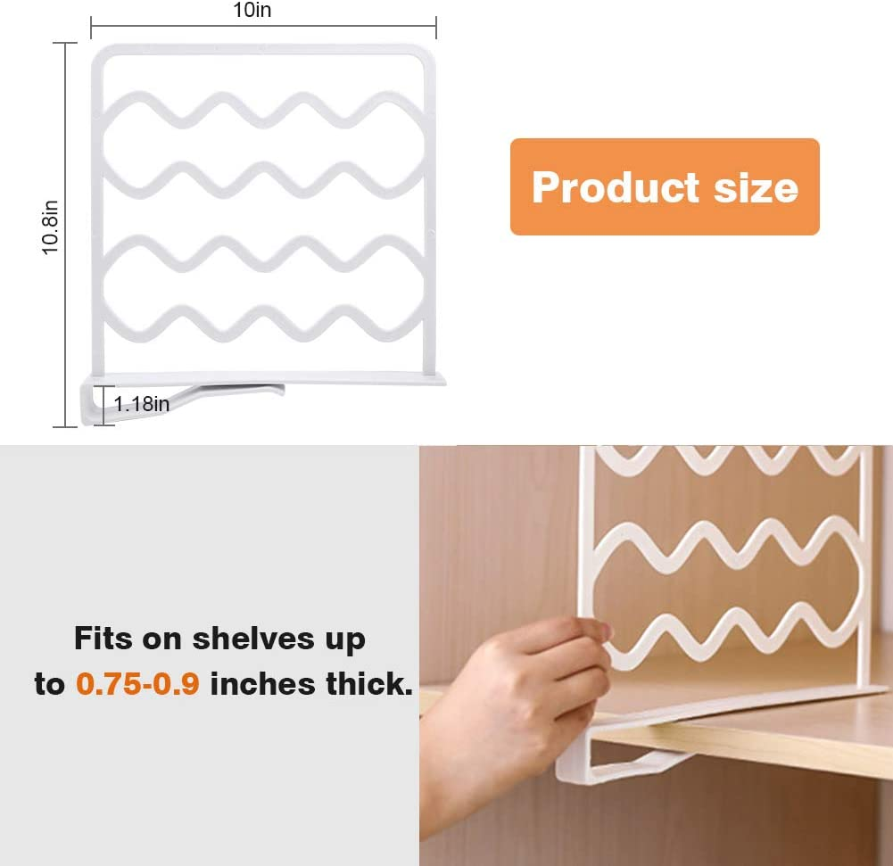 Gray VAlinks 8 Pack Shelf Dividers for Closets,Closet Shelf Organizer Divider,Plastic Closet Organizers and Storage for Wood Shelves Kitchen Cabinets
