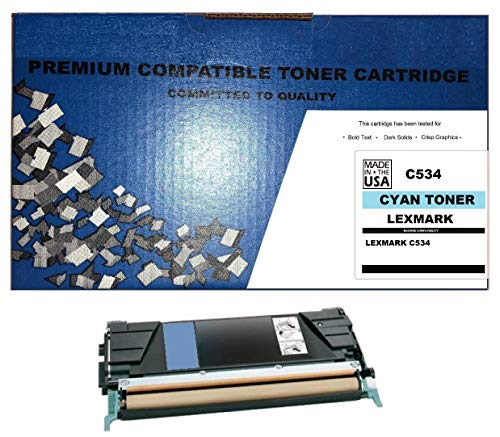 (ALL CITY USA REMANUFACTURED Toner Cartridge Replacement for LEXMARK C534 (Cyan) Extra HIGH Yield)