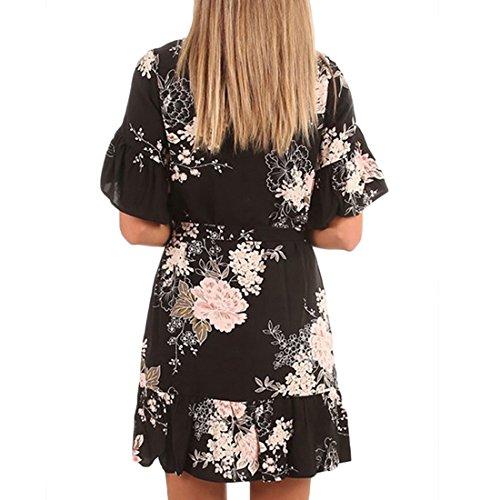 Floral Demi-manches De Ai.moichien Femmes D'été En Mousseline De Soie Lâche Robes De Soirée Noire Douce