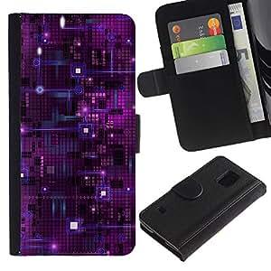 All Phone Most Case / Oferta Especial Cáscara Funda de cuero Monedero Cubierta de proteccion Caso / Wallet Case for Samsung Galaxy S5 V SM-G900 // Computer Chip Nanotechnology Purple Art Space