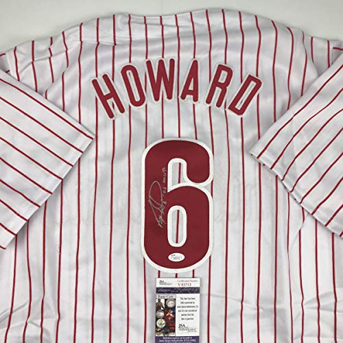 (Autographed/Signed Ryan Howard 06 MVP Philadelphia Pinstripe Baseball Jersey JSA COA)