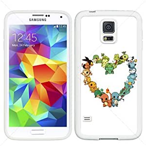 Pokemon Cute PIKACHU EEVEE Samsung Galaxy S5 SV I9600 TPU Soft Black or White case (#5 White)