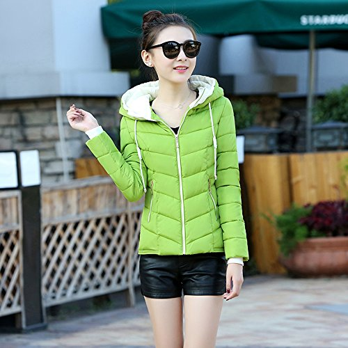 Xuanku Qiuqing Slim Paragraph Color green Hooded Women Coat Female Thin Down Coat Jacket Pure Small Short Was 4UqTrw4