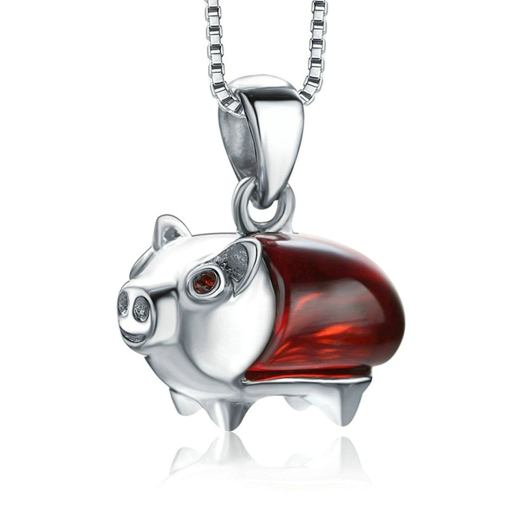 Aooaz Silver Plated Womens Pendant Necklace Wedding Necklace Lovely Pig Red Crystal CZ Necklace Promise