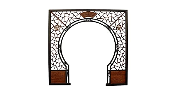 Amazon Com Panels Gate Chinese Two Brown Stain Wood Around Arch