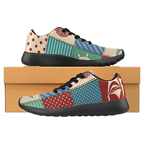 InterestPrint Womens Jogging Running Sneaker Lightweight Go Easy Walking Casual Comfort Sports Running Shoes Seashell, Starfish, Anchor, Wheel, Sailboat and Crab Multi 1