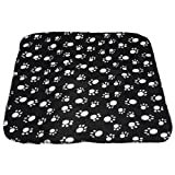 Pet Small Medium Large Paw Print Pet Cat Dog Fleece Soft Warmer Blanket Beds Mat (black)