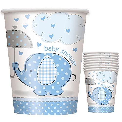 9oz Blue Elephant Boy Baby Shower Paper Cups, -