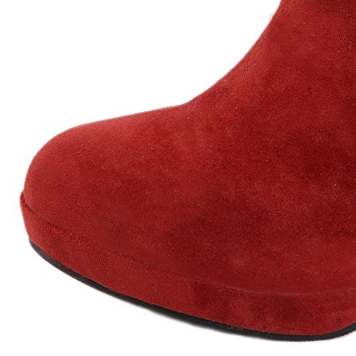 AllhqFashion Womens Frosted Pull-On Round Closed Toe High-Heels Mid-Top Snow-Boots Red TubhFK