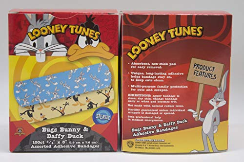 1075737 - Description : Looney Tunes Adhesive Bandages; Bugs Bunny & Daffy Duck - American White Cross Looney Tunes Adhesive Bandages, Sterile, DUKAL Corporation - Pack of 100