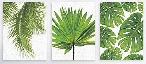 - ChezMax Wall Art Oil Painting on Canvas Print Artwork Pictures for Home Decor Green Tropical Plants Palm Leaves 19.7