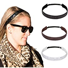 Bani Bands Girl's and Women's Active Adjustable Headband with Non-Slip Lining, 3 Pack (More Colors Available)