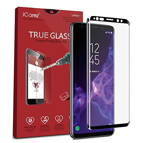 iCarez [Full Coverage Black Glass ] 3D Curved Screen Protector for Samsung Galaxy S9+ S9 Plus Easy Install [ 1-Pack 0.33MM 9H ] with Lifetime Replacement Warranty - Retail Packaging