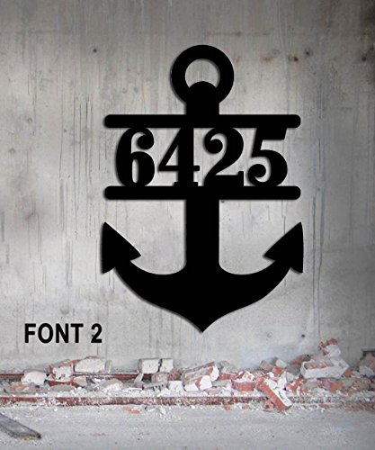 (Ships' Anchor Custom Metal Address Sign Nautical House Number 17 1/2 wide x 25 high)