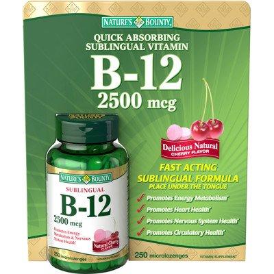 Nature Bounty Sublingual Vitamin B-12 2500 Mcg avec saveur de cerise - 250 Microlozenges