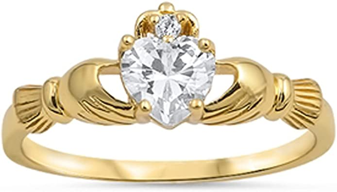 Jinique .925 Sterling Silver Claddagh Yellow Gold Plated with Clear Color Cz Heart Stone
