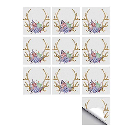 C COABALLA Antler Decor Stylish Ceramic Tile Stickers 10 Pieces,Hand Painted Deer Horns with Cactus Flowers Botanical Bouquet Vintage Wreath Decorative for Kitchen Living Room,5