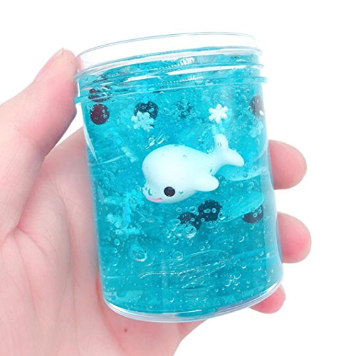 Livoty 120ML Beautiful Ocean Dolphin Mixing Cloud Slime Putty Scented Stress Reliever Kids Clay Toy (A)