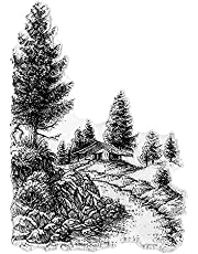 Path House Tree Background Clear Stamps for Card Making and Photo Album Decorations, Natural Scenery Transparent Rubber Stamps Seal for DIY Scrapbooking