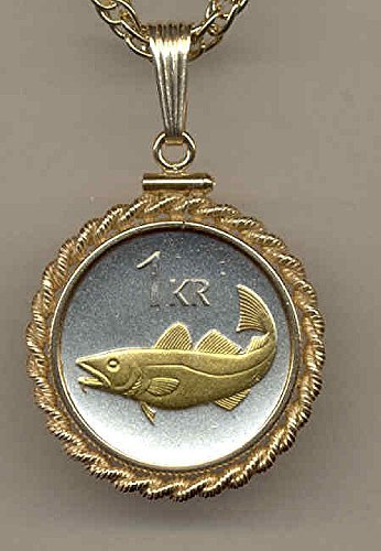 Krona Coin - Iceland Cod fish, Gorgeously 2-Toned (Uniquely Hand done) Gold on Silver coin Necklaces for women men girls girlfriend boys teen girls