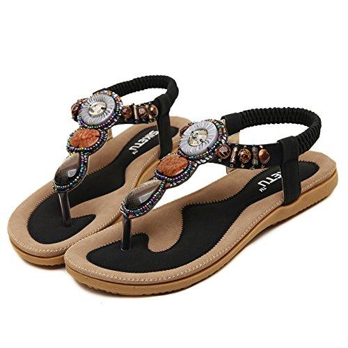 Fortuning's JDS 2016 New arrival women's bohemia Flip-flop shoes flat sandals Black S0Iaj