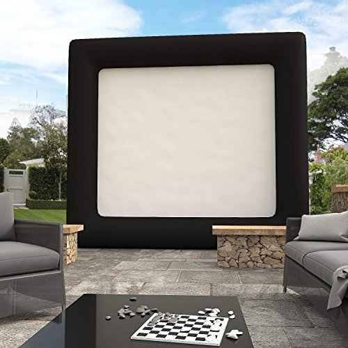 13.1 x 11.5ft Inflatable Movie Screen with Portable Airblown Strong Thick Black Frame Easy Set Up for Backyard Pool Fun [US STOCK] (Screen Inflatable Television)