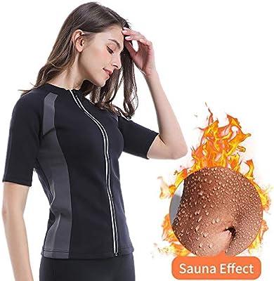 Camiseta de Neopreno con cremallera para la Pérdida de Peso para Mujer Faja Reductora Adelgazante Abdomen T-Shirt Sauna Manga Corta Chaleco de Sudoración Elástico/Transpirable/Secado Rápido,2XL: Amazon.es: Deportes y aire libre