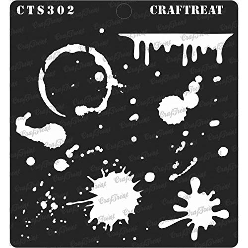 CrafTreat Stencil - Stains and Splatters Reusable Painting Template for Journal, Home Decor, Crafting, DIY Albums, Scrapbook and Printing on Paper, Floor, Wall, Tile, Fabric, Wood 6x6 Inches