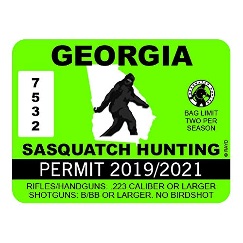 "RDW Georgia Sasquatch Hunting Permit - Color Sticker - Decal - Die Cut - Size: 4.00"" x 3.00"""