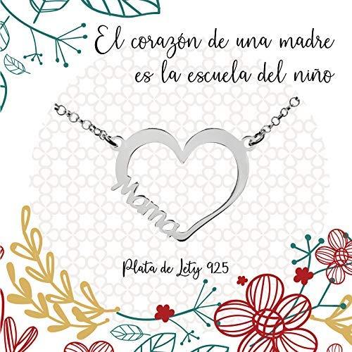 Collar Corazón para Mamá Plata de Ley 925 - Regalos para mama originales