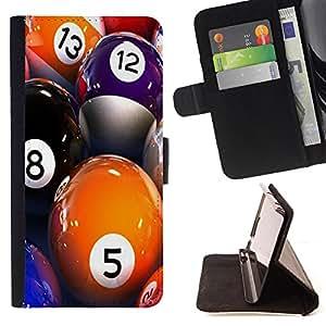 Dragon Case- Caja de la carpeta del caso en folio de cuero del tirš®n de la cubierta protectora Shell FOR Sony Xperia Z1 M51W Z1 mini D5503- Snooker Pool Ball American Pool