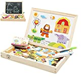 Babyhugs Kids Wooden Toy Magnetic Double Sided Drawing Whiteboard Blackboard Art Easel - Forest Zoo Paradise